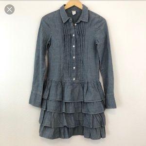 J. Crew Mona Chambray Ruffle Dress